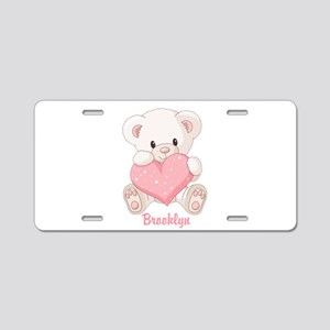 Custom name valentine bear Aluminum License Plate