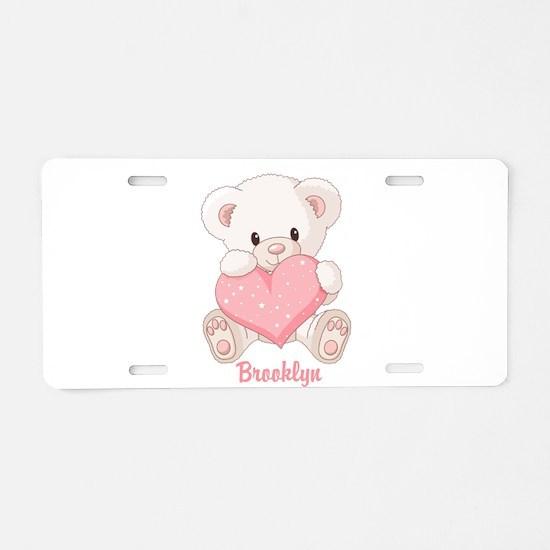 Custom name valentine bear Aluminum License Plate