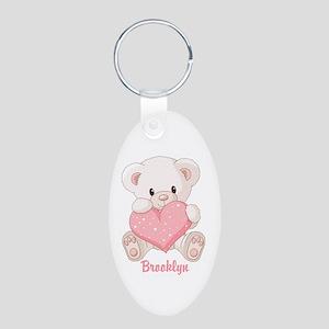 Custom name valentine bear Aluminum Oval Keychain