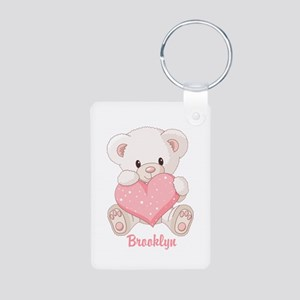 Custom name valentine bear Aluminum Photo Keychain