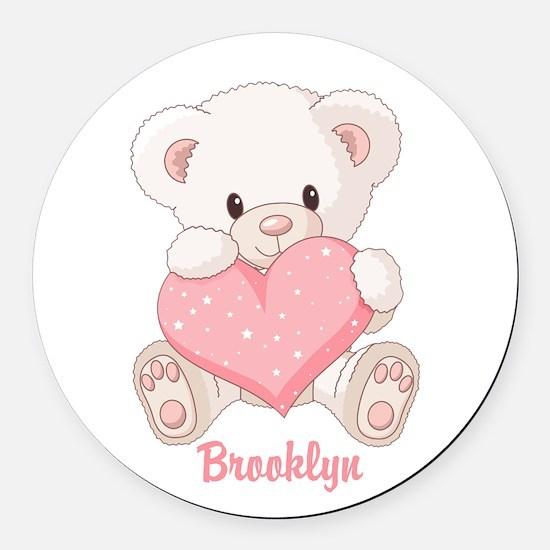 Custom name valentine bear Round Car Magnet