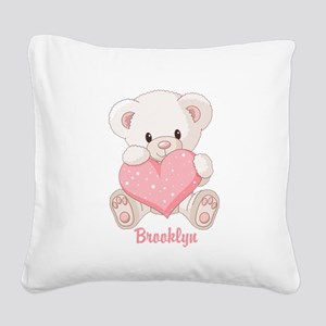 Custom name valentine bear Square Canvas Pillow