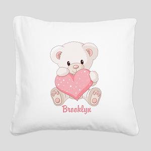 Custom name valentine bear Square Canvas Pillow