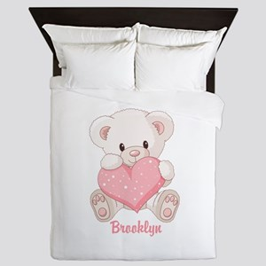 Custom name valentine bear Queen Duvet