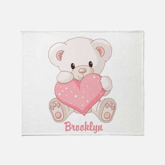 Custom name valentine bear Throw Blanket