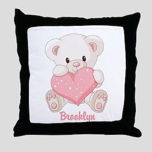 Custom name valentine bear Throw Pillow