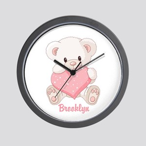 Custom name valentine bear Wall Clock
