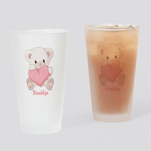 Custom name valentine bear Drinking Glass