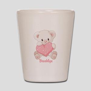 Custom name valentine bear Shot Glass