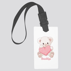 Custom name valentine bear Large Luggage Tag