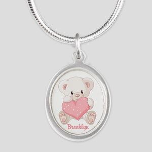 Custom name valentine bear Silver Oval Necklace