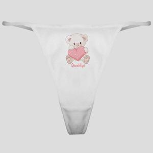 Custom name valentine bear Classic Thong