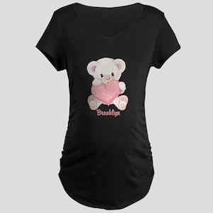 Custom name valentine bear Maternity Dark T-Shirt
