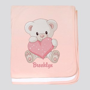 Custom name valentine bear baby blanket