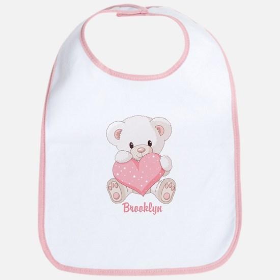 Custom name valentine bear Bib
