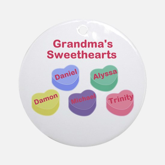 Custom Grand kids sweethearts Ornament (Round)