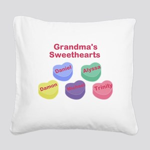 Custom Grand kids sweethearts Square Canvas Pillow