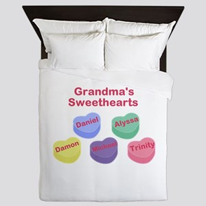 Custom Grand kids sweethearts Queen Duvet