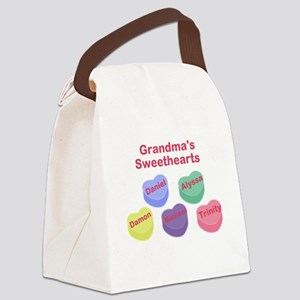Custom Grand kids sweethearts Canvas Lunch Bag