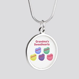 Custom Grand kids sweethearts Silver Round Necklac