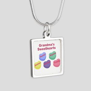 Custom Grand kids sweethearts Silver Square Neckla