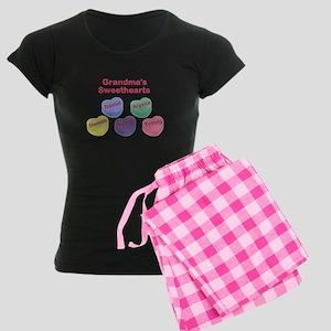 Custom Grand kids sweethearts Women's Dark Pajamas