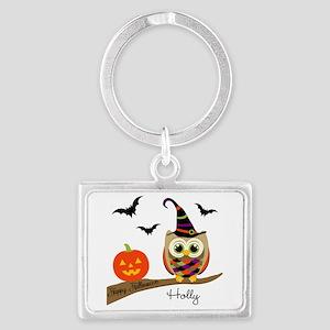 Custom name Halloween owl Landscape Keychain
