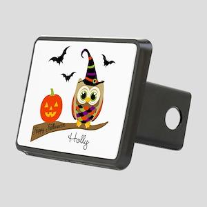 Custom name Halloween owl Rectangular Hitch Cover