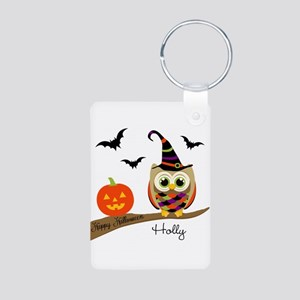 Custom name Halloween owl Aluminum Photo Keychain