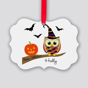 Custom name Halloween owl Picture Ornament