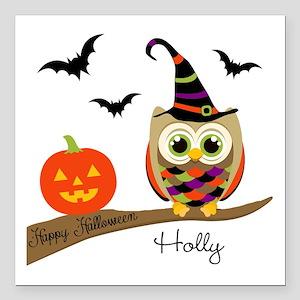 "Custom name Halloween owl Square Car Magnet 3"" x 3"