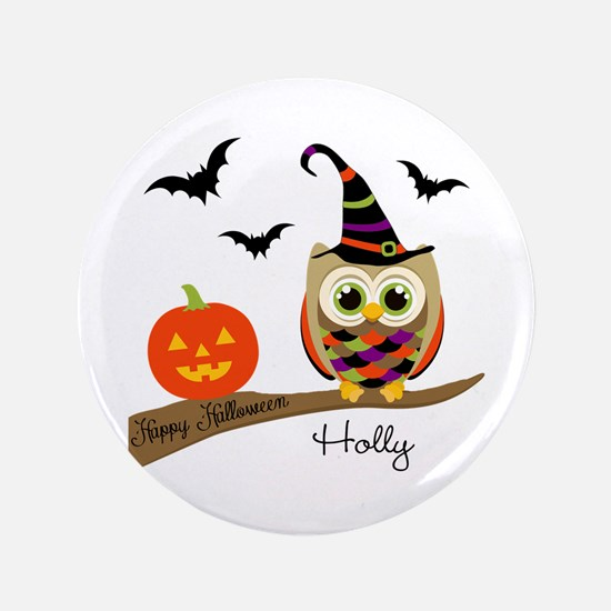 "Custom name Halloween owl 3.5"" Button"