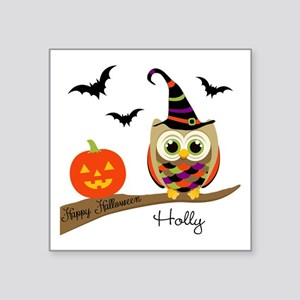 "Custom name Halloween owl Square Sticker 3"" x 3"""