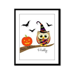 Custom name Halloween owl Framed Panel Print