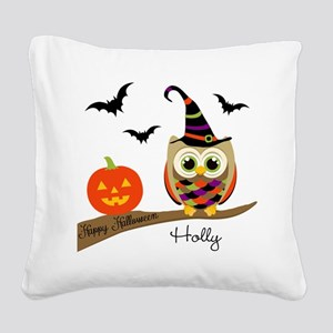 Custom name Halloween owl Square Canvas Pillow