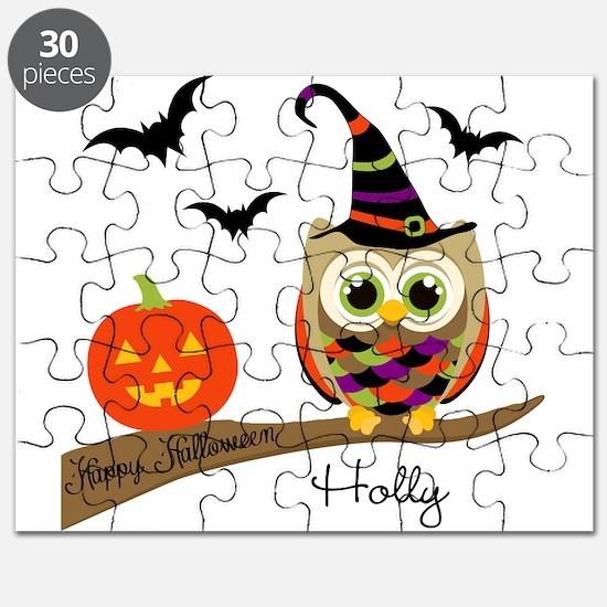 Custom name Halloween owl Puzzle