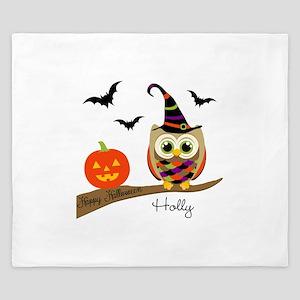 Custom name Halloween owl King Duvet