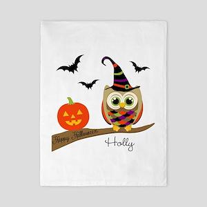 Custom name Halloween owl Twin Duvet