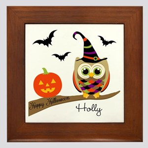 Custom name Halloween owl Framed Tile