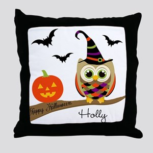 Custom name Halloween owl Throw Pillow