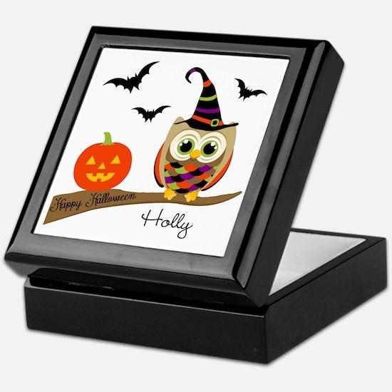 Custom name Halloween owl Keepsake Box
