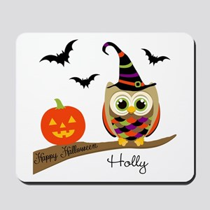 Custom name Halloween owl Mousepad