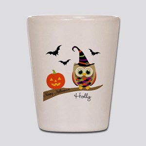 Custom name Halloween owl Shot Glass