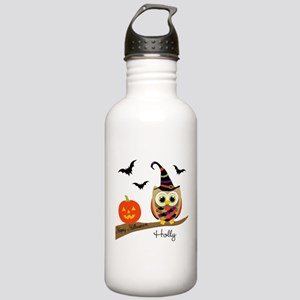 Custom name Halloween owl Stainless Water Bottle 1