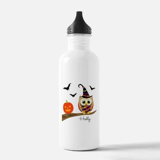 Custom name Halloween owl Sports Water Bottle