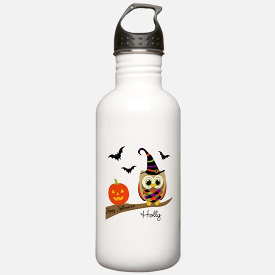 Custom name Halloween owl Water Bottle