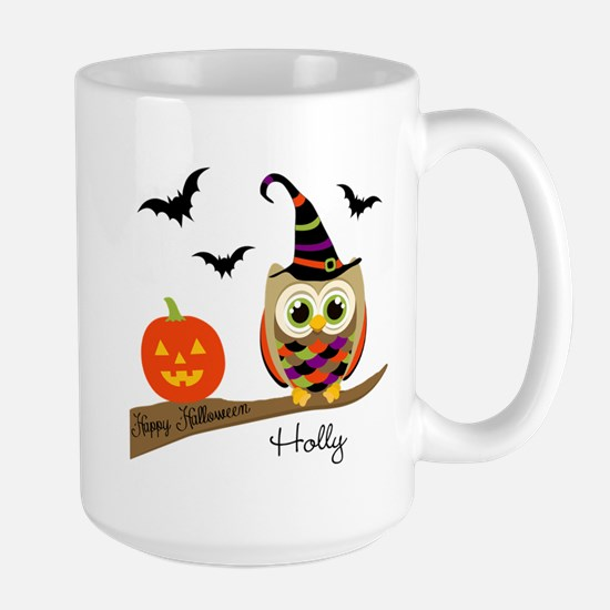 Custom name Halloween owl Large Mug