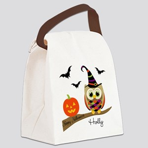 Custom name Halloween owl Canvas Lunch Bag