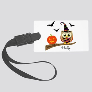 Custom name Halloween owl Large Luggage Tag