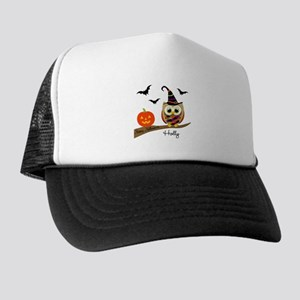 Custom name Halloween owl Trucker Hat